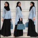Aisha blouse bahan chiffon crepe (tidak transparan).Basic skirt bahan katun rayon.